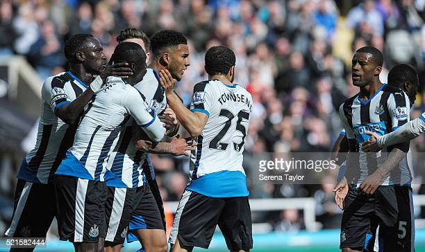 Jamaal Lascelles of Newcastle celebrates with teammates after he scores the opening goal during the Barclays Premier League match between Newcastle...