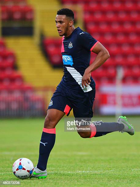 Jamaal Lascelles of Newcastle in action during the pre season friendly between Gateshead and Newcastle United at Gateshead International Stadium on...