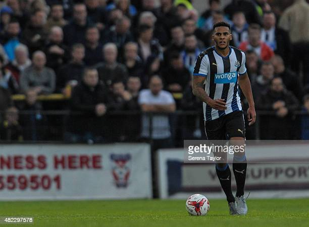 Jamaal Lascelles of Newcastle runs with the ball during a Pre Season Friendly between York City and Newcastle United at Bootham Crescent on July 29...