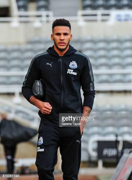 Jamaal Lascelles of Newcastle United arrives for the Premier League match between Newcastle United and AFC Bournemouth at StJames' Park on November 4...
