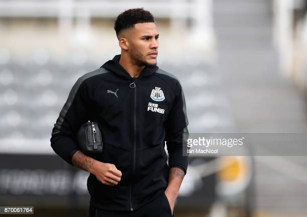Jamaal Lascelles of Newcastle United arrives prior to the Premier League match between Newcastle United and AFC Bournemouth at St James Park on...
