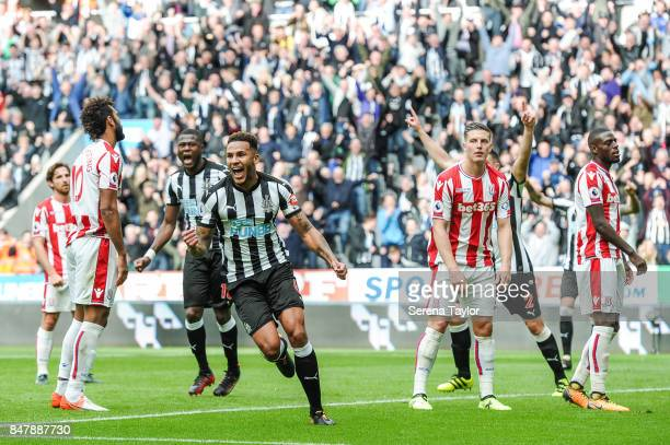 Jamaal Lascelles of Newcastle United celebrates after he heads the ball to score Newcastle's second goal during the Premier League match between...