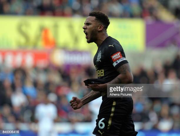 Jamaal Lascelles of Newcastle United celebrates his goal during the Premier League match between Swansea City and Newcastle United at The Liberty...