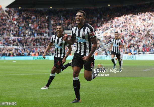 Jamaal Lascelles of Newcastle United celebrates scoring his sides second goal during the Premier League match between Newcastle United and Stoke City...