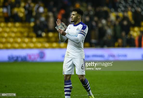 Jamaal Lascelles of Newcastle United claps the fans after Newcastle win the Sky Bet Championship match between Wolverhampton Wanderers and Newcastle...