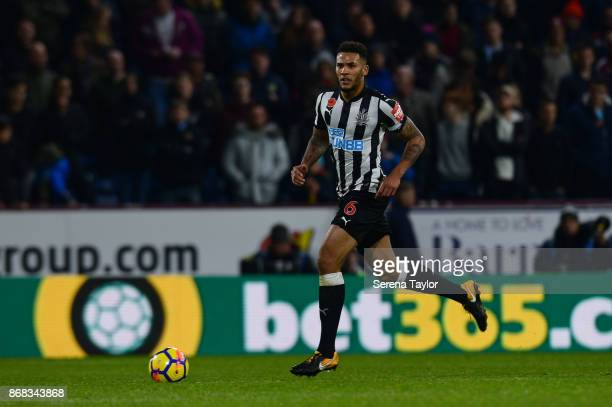 Jamaal Lascelles of Newcastle United controls the ball during the Premier League match between Burnley and Newcastle United at Turf Moore on October...