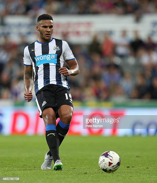 Jamaal Lascelles of Newcastle United in action during the Capital One Cup Second Round between Newcastle United and Northampton Town at St James'...