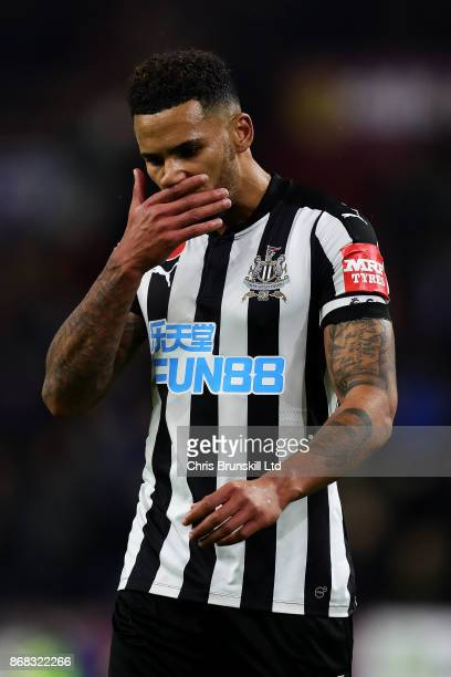 Jamaal Lascelles of Newcastle United looks dejected following the Premier League match between Burnley and Newcastle United at Turf Moor on October...
