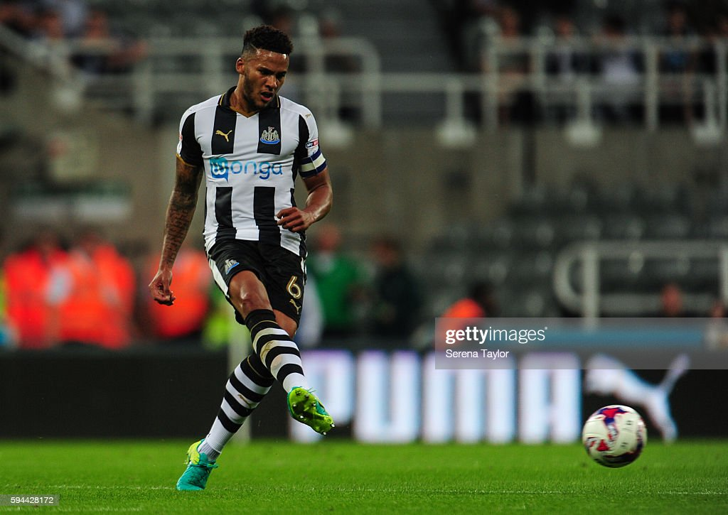 Jamaal Lascelles of Newcastle United passes the ball during the EFL cup between Newcastle United and Cheltenham Town at StJames' Park on August 23 in...