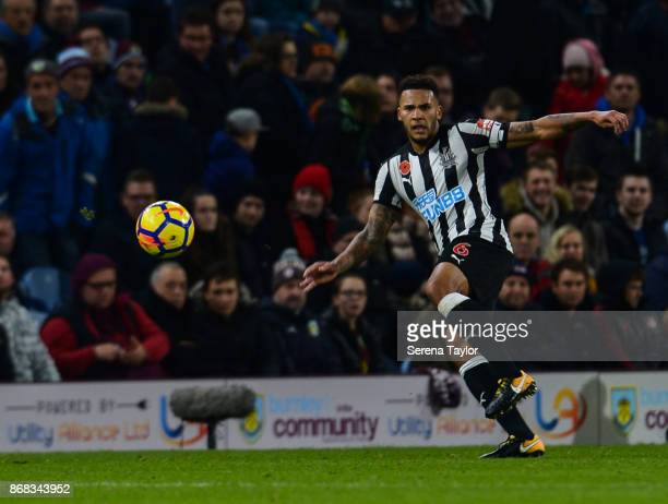 Jamaal Lascelles of Newcastle United passes the ball during the Premier League match between Burnley and Newcastle United at Turf Moore on October 30...