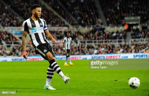 Jamaal Lascelles of Newcastle United passes the ball during the Sky Bet Championship Match between Newcastle United and Burton Albion at StJames'...