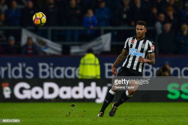 Jamaal Lascelles of Newcastle United passesthe ball during the Premier League match between Burnley and Newcastle United at Turf Moore on October 30...