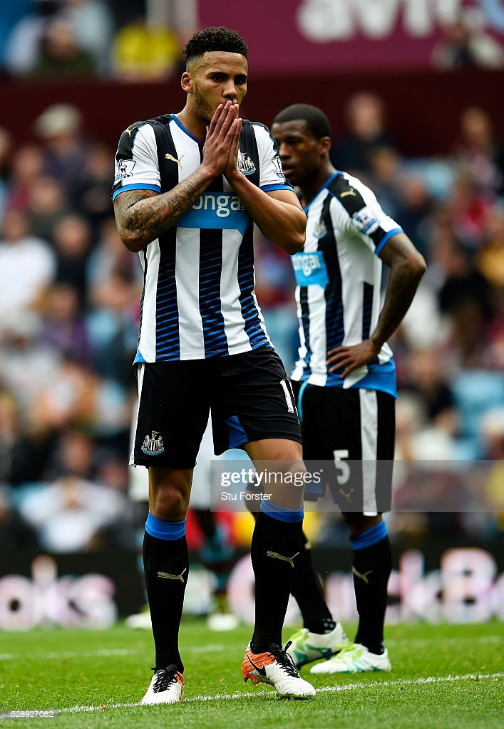 Jamaal Lascelles of Newcastle United reacts after his team's scoreless draw in the Barclays Premier League match between Aston Villa and Newcastle United at Villa Park on May 7, 2016 in Birmingham, United Kingdom.