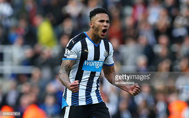Jamaal Lascelles of Newcastle United reacts at full time during the Barclays Premier League match between Newcastle United and Crystal Palace at St...