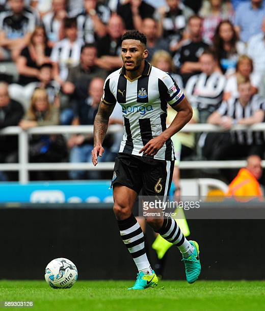 Jamaal Lascelles of Newcastle United runs with the ball during the Sky Bet Championship match between Newcastle United and Huddersfield Town at...