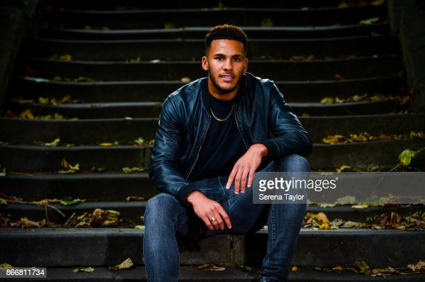 Jamaal Lascelles poses for photos during a photoshoot in Leazes Park on September 21 2017 in Newcastle England