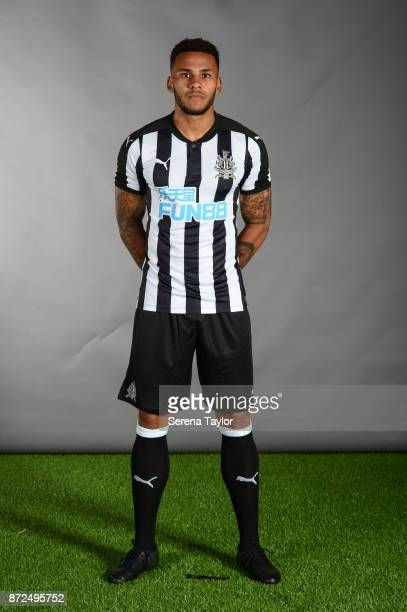 Jamaal Lascelles poses for photos during the Newcastle United First Team Photocall at The Newcastle United Training Centre on September 25 in...