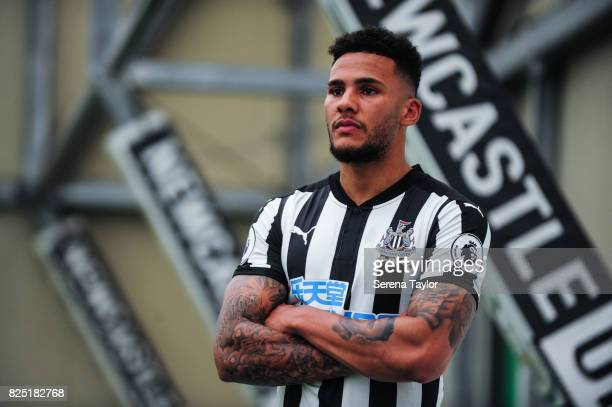 Jamaal Lascelles poses for photos during the Newcastle United Media Photo Call Day at the Newcastle United Training ground on July 31 in Newcastle...