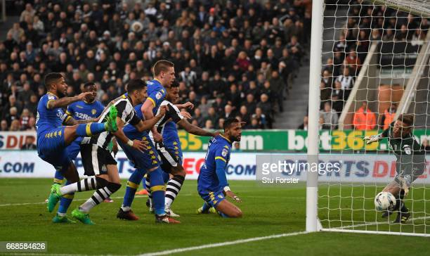 Jamaal Lascelles scores the first goal during the Sky Bet Championship match between Newcastle United and Leeds United at St James' Park on April 14...