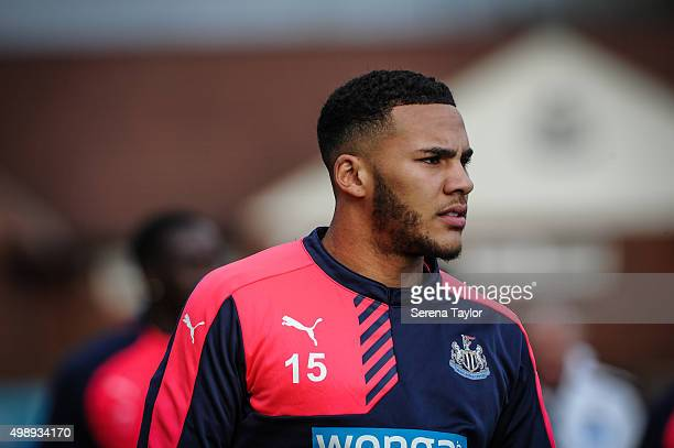 Jamaal Lascelles walks outside during the Newcastle United Training session at The Newcastle United Training Centre on November 27 in Newcastle upon...