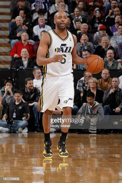 Jamaal Tinsley of the Utah Jazz brings the ball up the court against the Sacramento Kings on February 9 2013 at Sleep Train Arena in Sacramento...