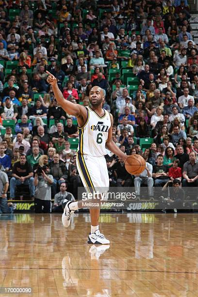 Jamaal Tinsley of the Utah Jazz directs his team against the Brooklyn Nets at Energy Solutions Arena on March 30 2013 in Salt Lake City Utah NOTE TO...