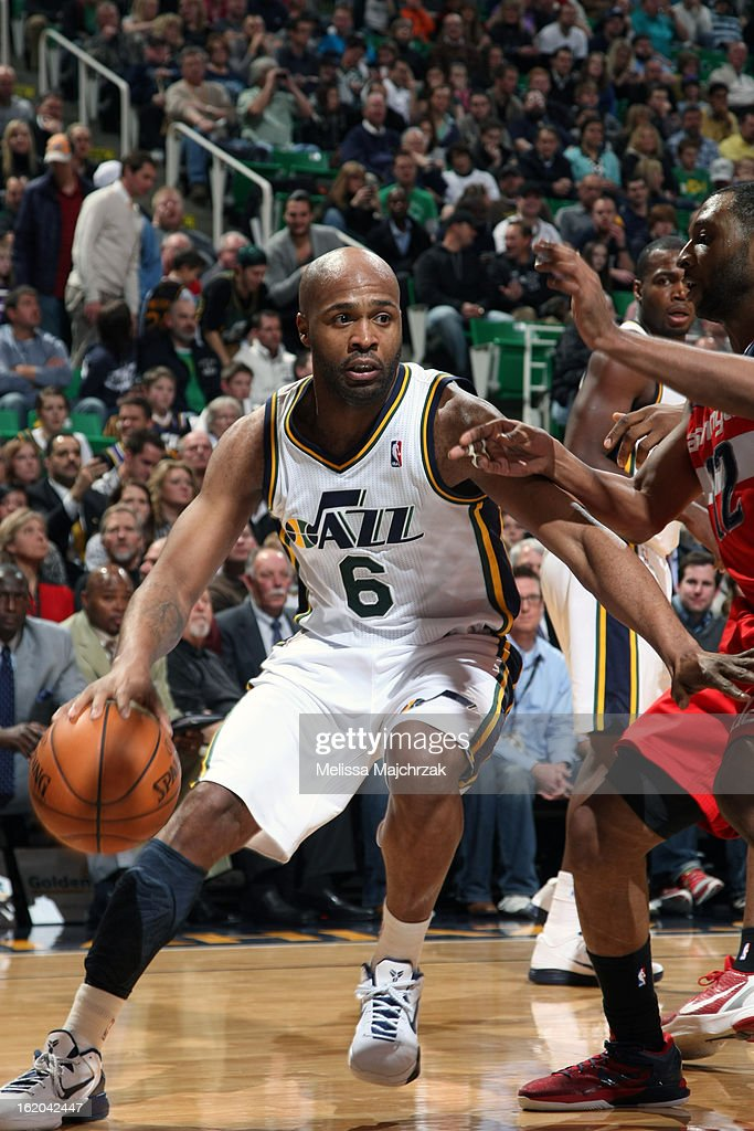 <a gi-track='captionPersonalityLinkClicked' href=/galleries/search?phrase=Jamaal+Tinsley&family=editorial&specificpeople=202203 ng-click='$event.stopPropagation()'>Jamaal Tinsley</a> #6 of the Utah Jazz drives to the basket against the Washington Wizards at Energy Solutions Arena on January 23, 2013 in Salt Lake City, Utah.