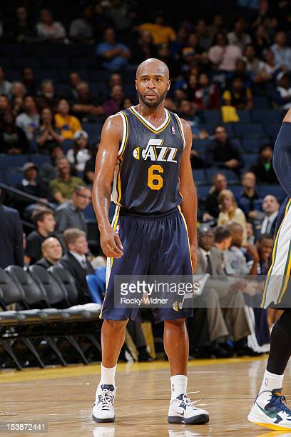 Jamaal Tinsley of the Utah Jazz during the game against the Golden State Warriors on October 8 2012 at Oracle Arena in Oakland California NOTE TO...