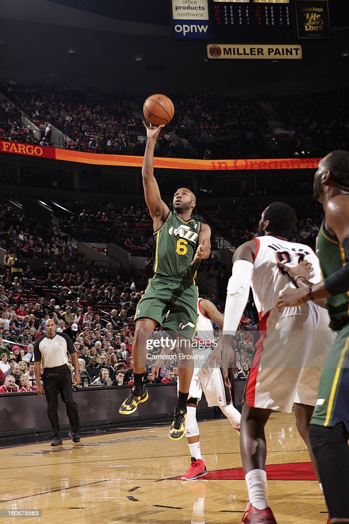 Jamaal Tinsley #6 of the Utah Jazz goes to the basket during the game between the Utah Jazz and the Portland Trail Blazers on February 2, 2013 at the Rose Garden Arena in Portland, Oregon.