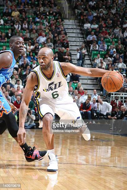 Jamaal Tinsley of the Utah Jazz handles the ball against the Oklahoma City Thunder on March 20 2012 at Energy Solutions Arena in Salt Lake City Utah...