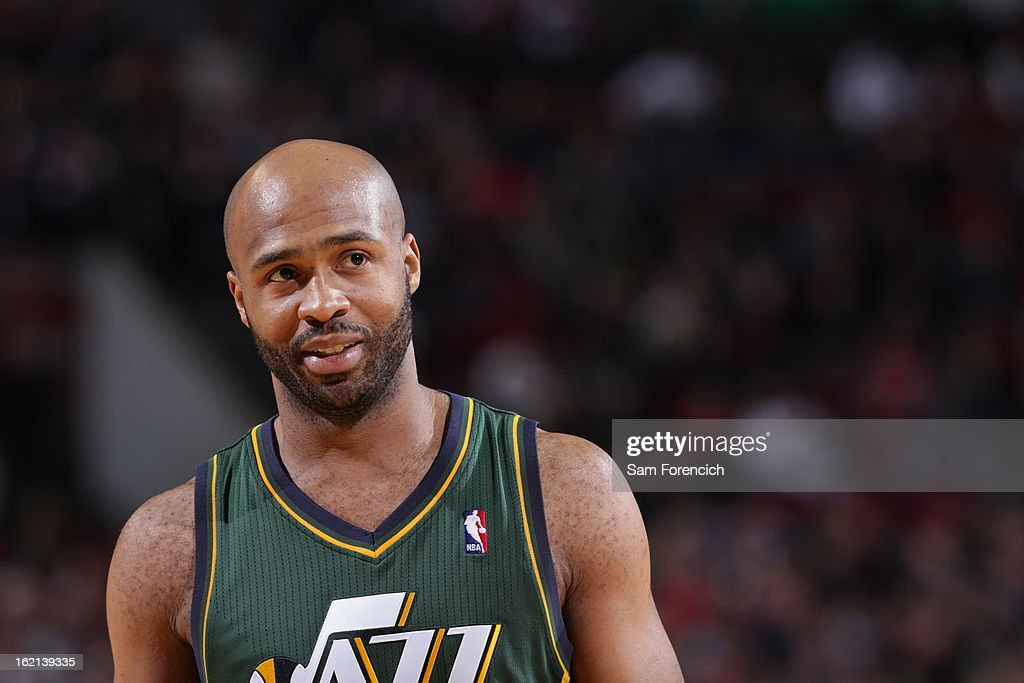 <a gi-track='captionPersonalityLinkClicked' href=/galleries/search?phrase=Jamaal+Tinsley&family=editorial&specificpeople=202203 ng-click='$event.stopPropagation()'>Jamaal Tinsley</a> #6 of the Utah Jazz looks on during the game against the Portland Trail Blazers on February 3, 2013 at the Rose Garden Arena in Portland, Oregon.