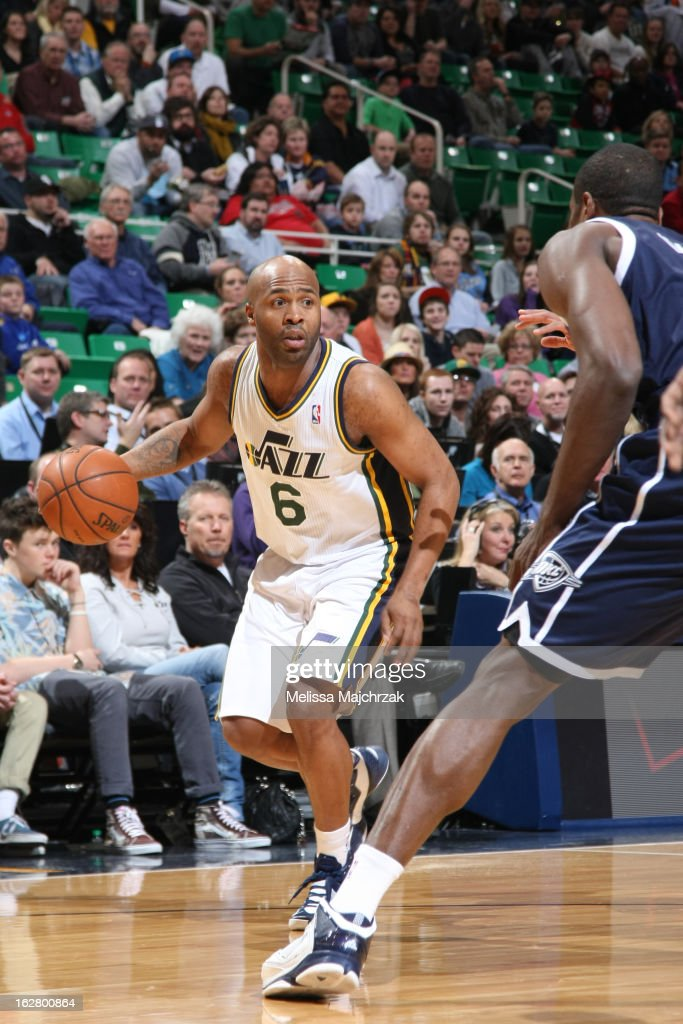 <a gi-track='captionPersonalityLinkClicked' href=/galleries/search?phrase=Jamaal+Tinsley&family=editorial&specificpeople=202203 ng-click='$event.stopPropagation()'>Jamaal Tinsley</a> #6 of the Utah Jazz looks to drive to the basket against the Oklahoma City Thunder on February 12, 2013 in Salt Lake City, Utah.