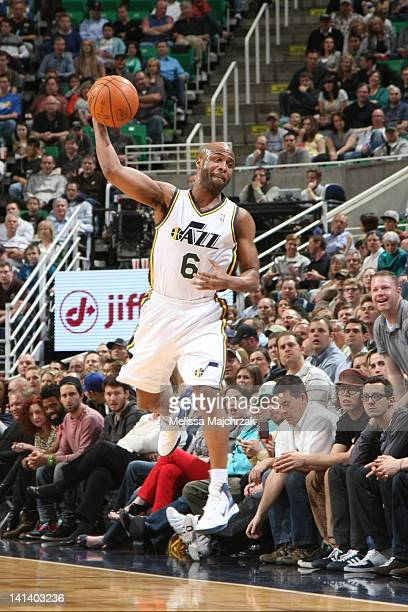 Jamaal Tinsley of the Utah Jazz saves Jazz possession with a quick move against the Minnesota Timberwolves at Energy Solutions Arena on March 15 2012...