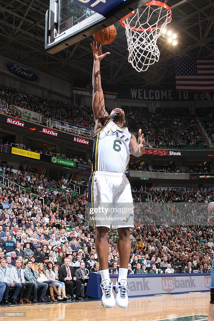 <a gi-track='captionPersonalityLinkClicked' href=/galleries/search?phrase=Jamaal+Tinsley&family=editorial&specificpeople=202203 ng-click='$event.stopPropagation()'>Jamaal Tinsley</a> #6 of the Utah Jazz shoots a layup against the Minnesota Timberwolves at Energy Solutions Arena on January 2, 2013 in Salt Lake City, Utah.