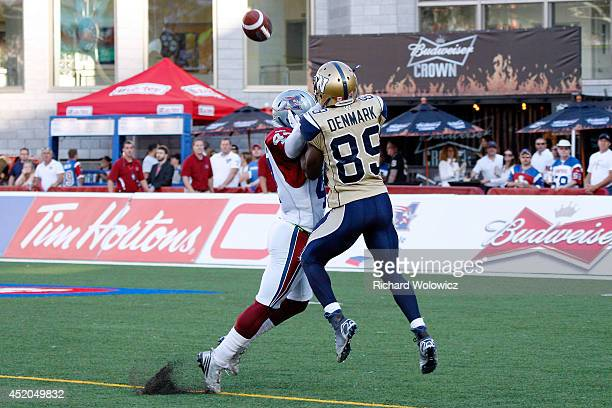 Jamaan Webb of the Montreal Alouettes blocks the incoming pass to Clarence Denmark of the Winnipeg Blue Bombers during the CFL game at Percival...