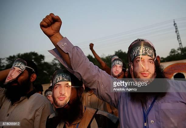 JamaatudDawa supporters protest against killing of Burhan Muzaffar Wani in Kashmir on July 20 2016 in Islamabad Pakistan Most wanted Hizbul...