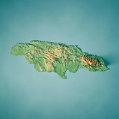 3D Render of a Topographic Map of Jamaica. All source data is in the public domain. Color texture: Made with Natural Earth.  http://www.naturalearthdata.com/downloads/10m-raster-data/10m-cross-blend-h