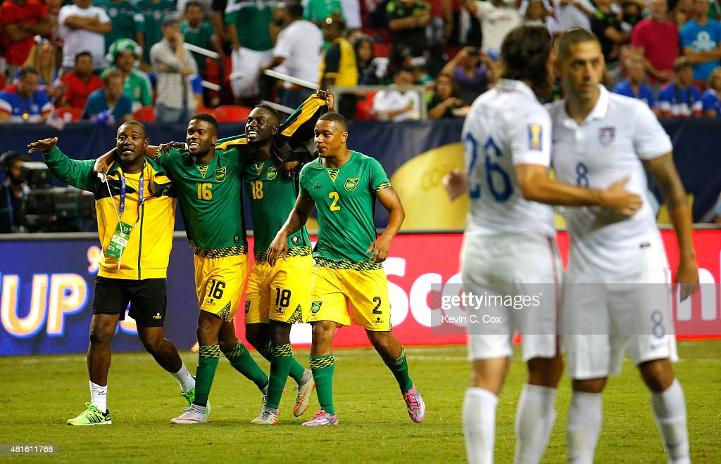 Jamaica celebrates their 21 win over the United States of America during the 2015 CONCACAF Golf Cup Semifinal match between Jamaica and the United...