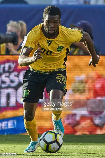 Jamaica defender Kemar Lawrence dribbles the ball during the CONCACAF Gold Cup Final match between the United States v Jamaica at Levi's Stadium on...