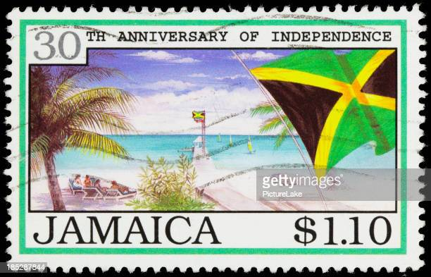 Jamaica flag and beach postage stamp