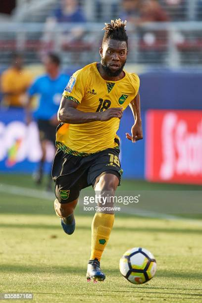 Jamaica forward Omar Gordon dribbles the ball during the CONCACAF Gold Cup Final match between the United States v Jamaica at Levi's Stadium on July...