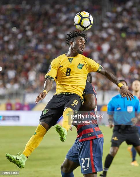 Jamaica midfielder Oniel Fisher heads the ball during the CONCACAF Gold Cup Final match between the United States v Jamaica at Levi's Stadium on July...