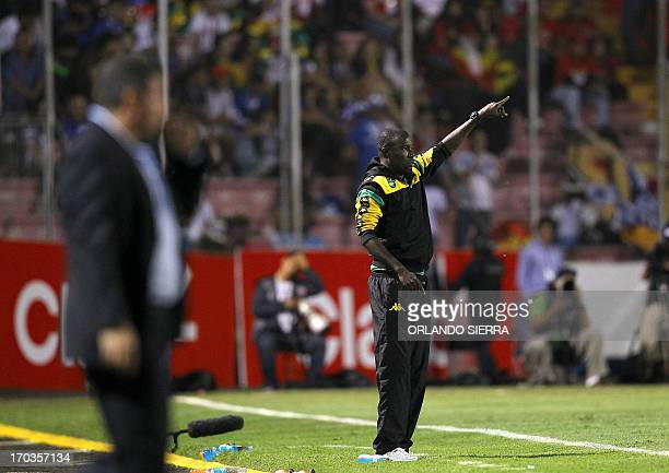 Jamaica national football team head coach Theodore Whitmore gestures during their FIFA World Cup Brazil 2014 CONCACAF qualifier football match...