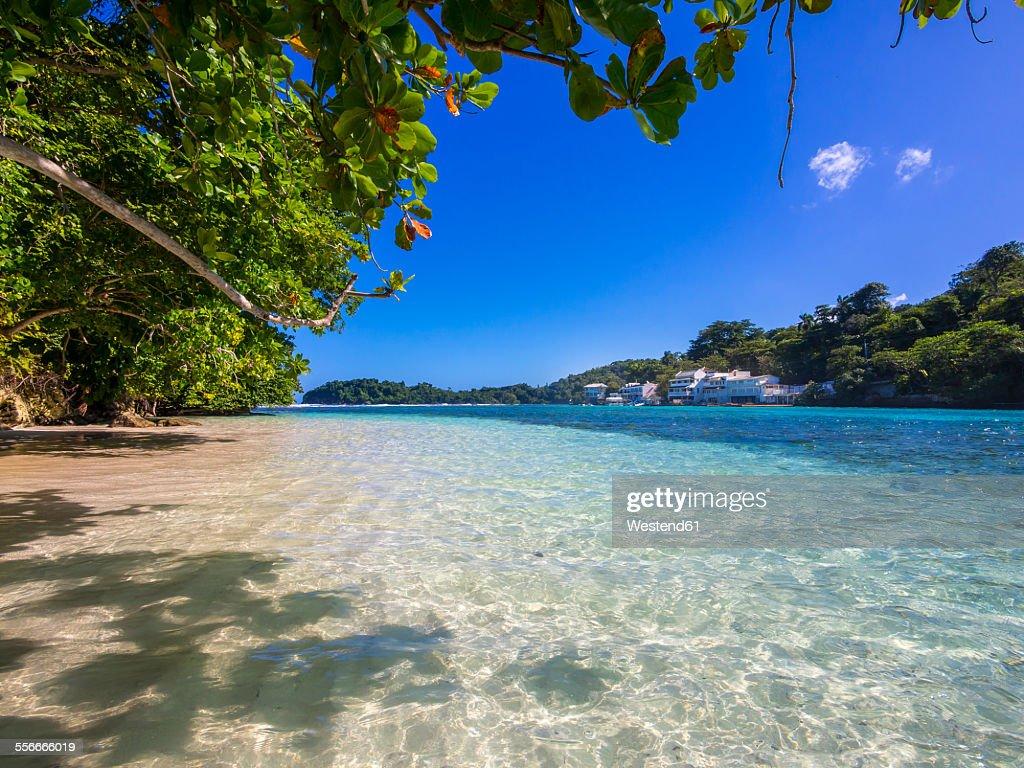 Jamaica, Port Antonio, blue lagoon with luxury villas in background