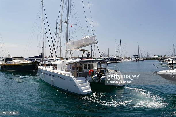 Jamaica registered catamaran arrives in Cascais Marina on August 16 2016 in Cascais Portugal With capacity for 650 vessels Cascais Marina has been...