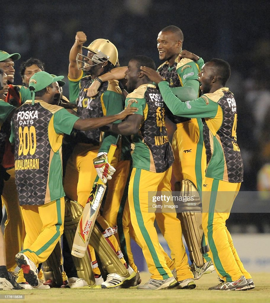 Jamaica Tallawahs celebrating victory against Guyana Amazon Warriors during the Final of the Caribbean Premier League between Guyana Amazon Warriors v Jamaica Tallawahs at Queens Park Oval on August 24, 2013 in Port of Spain, Trinidad and Tobago.