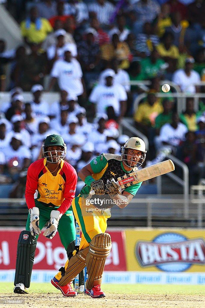 Jamaica Tallwahs Jacques Rudolph bats during the Sixteenth Match of the Cricket Caribbean Premier League between Jamaica Tallawahs v Guyana Amazon Warriors at Sabina Park on August 15, 2013 in Kingston, Jamaica.