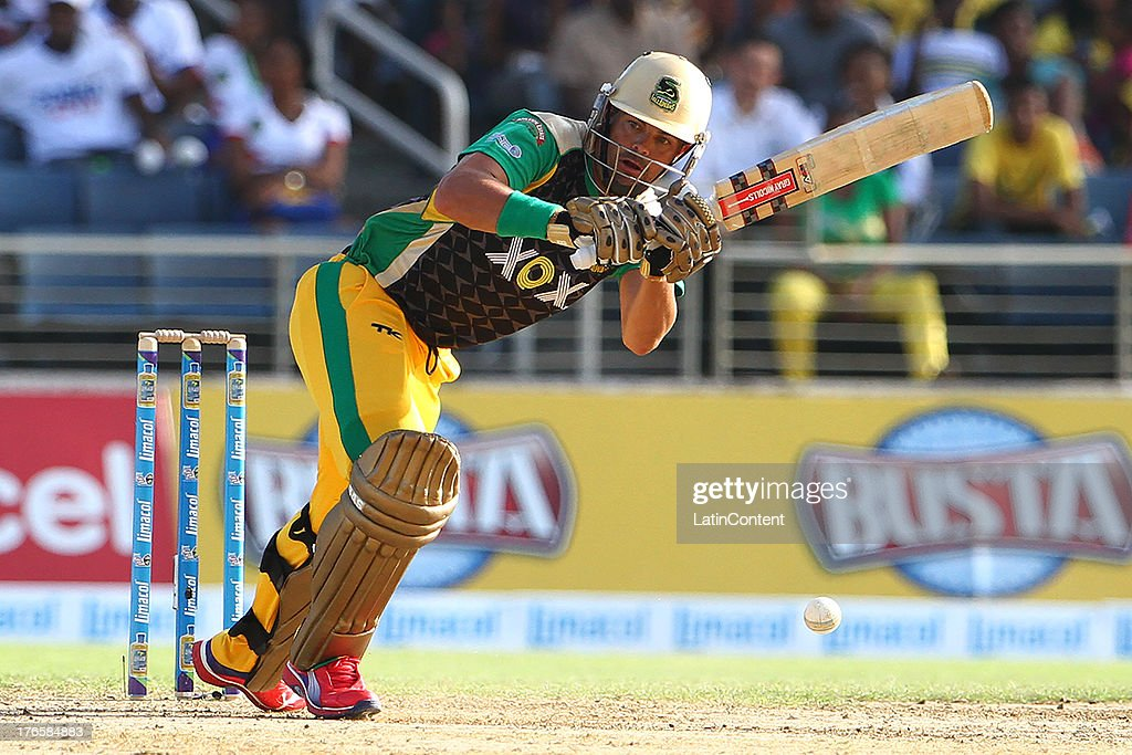 Jamaica Tallwahs Jacques Rudolph during the Sixteenth Match of the Cricket Caribbean Premier League between Jamaica Tallawahs v Guyana Amazon Warriors at Sabina Park on August 15, 2013 in Kingston, Jamaica.