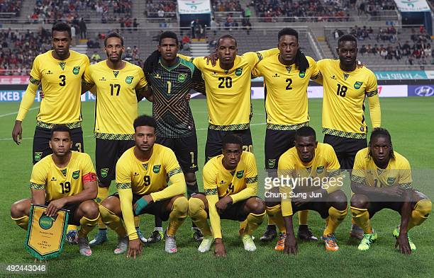 Jamaica team pose during the international friendly match between South Korea and Jamaica at Seoul World Cup stadium on October 13 2015 in Seoul...