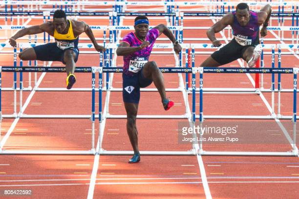 Jamaican athletes Hansle Parchment Omar McLeod and Ronald Levy compete in the 110m hurdles series during Meeting de Paris of the IAAF Diamond League...